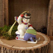 Lenox ~ Christmas 2013 Annual Snowman Ornament Snowmobiling New ~ Nib