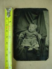 Tin type Photo of baby Girl with nice dress a great Vintage Collectible
