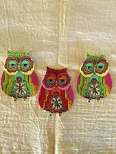 Cute Whimsy Owls - 3 - Iron-On Appliques.