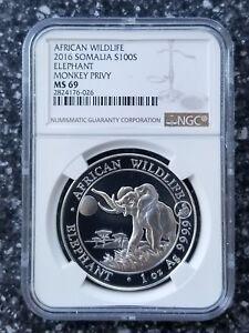 2016 Somalia 1oz Silver Elephant Monkey Privy MS69 NGC