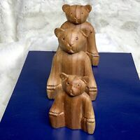 Vintage 3 Hand Carved Sitting Bear Family Wood Figures Made In Indonesia