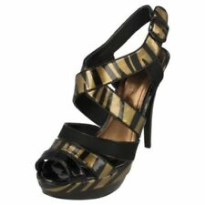Buckle Animal Print Synthetic Heels for Women