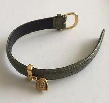 JOAN RIVERS Faux Alligator Sage Green Leather Bracelet W GP Heart Charm W RS