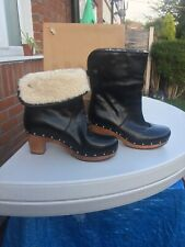 UGG® AUSTRALIA LYNNEA BLACK LEATHER PULL ON CLOG BOOTS UK 6.5 Paid  £245 In USA