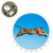 Tiger Jumping In The Air Bottle Opener Fridge Magnet