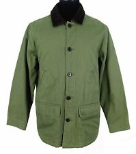 Lands End Barn Coat Sz L 42-44 Mens Green Canvas Field Jacket Flannel Lining