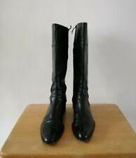 Italian Ladies Size 39.5 Black all Leather Knee High Block Low Heel Boots