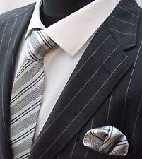 Men's Tie & Handkerchief Set Silver Grey With Stripes LUC270
