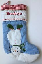 POTTERY BARN KIDS BLUE QUILTED SNOWMAN CHRISTMAS STOCKING *BROOKLYN* NEW SNOW