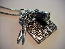 Sterling Silver BALTIMORE QUILT Pendant Necklace THIMBLE SCISSORS Charms SEWING