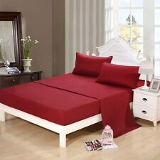 Duvet Set + Fitted Sheet Super King Size Burgundy Solid 1000 TC Egyptian Cotton