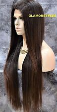 "36"" Straight Layered Black Auburn Mix Full Lace Front Wig Heat Ok Hair Piece"