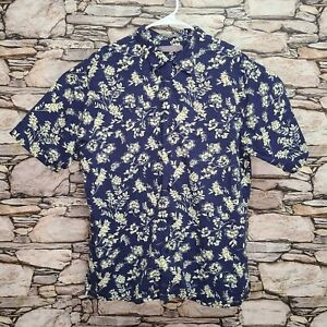 Daniel Cremieux Mens Button Down Shirt Size Large Navy Blue Yellow Floral Pocket