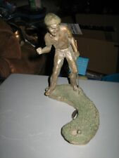 Vintage 1989 Mark Hopkins Signed Golf Series Bronze Sculpture