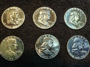 Franklin Half Dollar Lot of 6 1959 D  1961  1962  and (3) 1963
