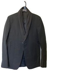 Rick Owens Men's Silk Collar One Button Black Blazer Size US 38