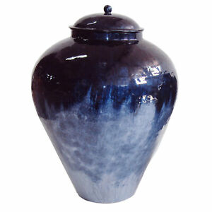 Modern Blue Gloss Enamel Finish Iron Jar Vase 23 in Container Vessel Lid Metal