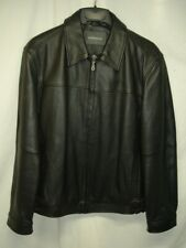 Croft & Barrow Black Leather Jacket.Men's Size Medium Quilted Insulated Lining