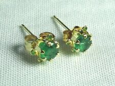 14K Yellow Gold and Emerald Pierced Earrings 0.4 grams