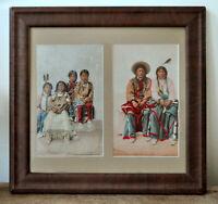 William Henry Jackson Utes Pee Viggi & Squaw & Ute Children. Photochrom Phostint