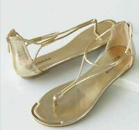 Women's Shoes Golden T Strap Sandal by Monroe & Main 9 M Gold