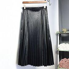 Women Vintage Fashion Elastic High Waist Pleated Swing Flared Skater Midi Skirt