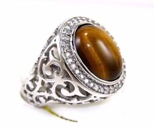Fine Oval Brown Tiger Eye & Diamond Men's Solitaire Ring 14k White Gold 8.25Ct