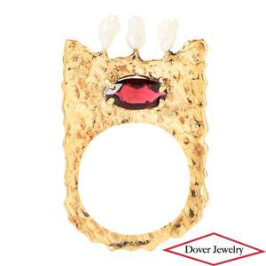Estate Garnet Pearl 14K Gold Textured Flat Thin Ring NR