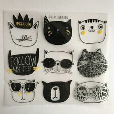 9pcs Patches Cute Cartoon Cat Children Clothing Stickers DIY Iron-on Applique