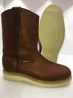 Women's Work Boots light Weight Pull On Leather Brown oil slip resistant Sz 5-10