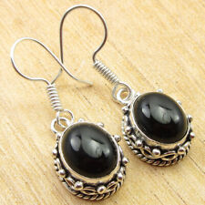 """1.3"""" Silver Plated Jewelry New Original Black Onyx Sentimental Gifts Earrings"""