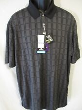 PGA TOUR Polyester Short Slve Caviar Black Plaid MotionFLUX Golf Polo SR$55 NEW