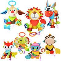 Baby Pram Stroller Soft Hanging Animal Doll Handbells Infant Toy Teether 0-3 Age