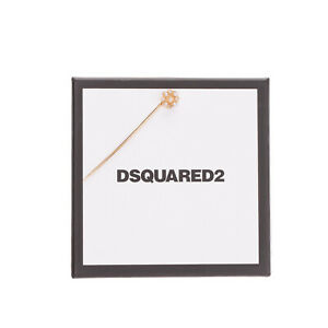 DSQUARED2 Lapel Pin Brooch Crystals Embellished Flower Detail Made in Italy