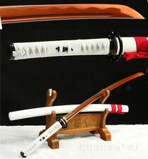 41'1095 CARBON STEEL RED BLADE HANDMADE WHITE JAPANESE SAMURAI SWORD KATANA