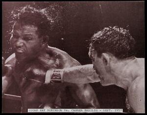 SUGAR RAY ROBINSON vs CARMEN BASILIO YANKEE STADIUM 1957 11x14 SEPIA TONE PHOTO