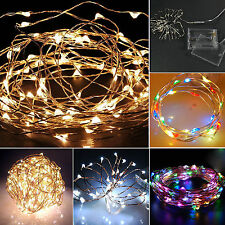 20/30/40/50/100 LED String Fairy Lights Battery Operated Xmas Party Room Decor)(