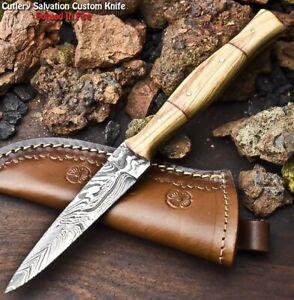 Rare!!! HandMade Damascus Steel Blade Dagger Full Tang Knife | OLIVE WOOD