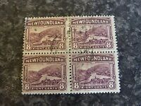 NEWFOUNDLAND POSTAGE STAMPS SG155 8C BLOCK OF 4 PURPLE 1923-6 FINE USED