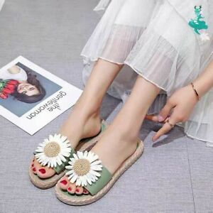 Women' Sunflowers Slides Slip-on Floral Sandals Comfy Flats Slippers Beach Shoes