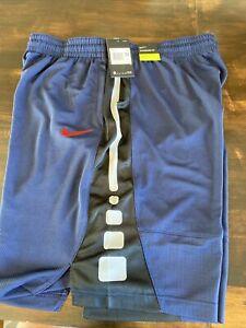 Nike Men's Size 3XL Elite Stripe Dri-FIT Basketball Shorts Blue Black/White