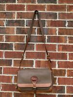 Dooney & Bourke Vintage Taupe Brown Leather Handbag Crossbody Shoulder Bag