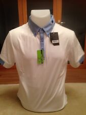 Callaway Men's Golf Polo Shirt White/Blue Slim Fit Brand New