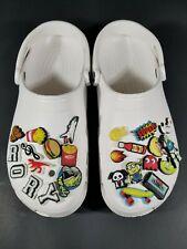 CROCS Classic Clogs Slip On 10001 White Custom Jibbitz Minion Toy Story Food 10