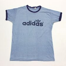 VTG 70s Adidas Trefoil Spell Out Blue Soft Ringer USA Made T Shirt Men's Medium