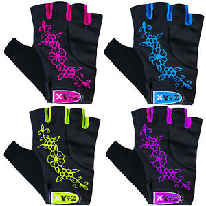 Junior Girls & Ladies Cycling Gloves Bicycle  Fingerless Gloves Padded