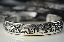 Sterling Silver Navajo Designed shadowboxed Deer, elk, Bear cuff style Bracelet