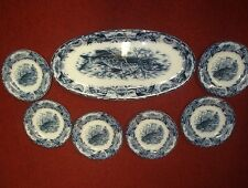 "Wedgwood Flow Blue 7 Piece Fish Set Victorian Platter 23"" & Six Plates Late 1800"