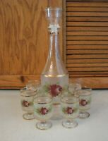 Vintage Gilded Glass Decanter Set With Six Wine Glasses Mid Century Modern