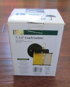"Cordelia Lighting 7 1/2"" Outdoor Coach Lantern Black Gold Finish Model 1161-05"
